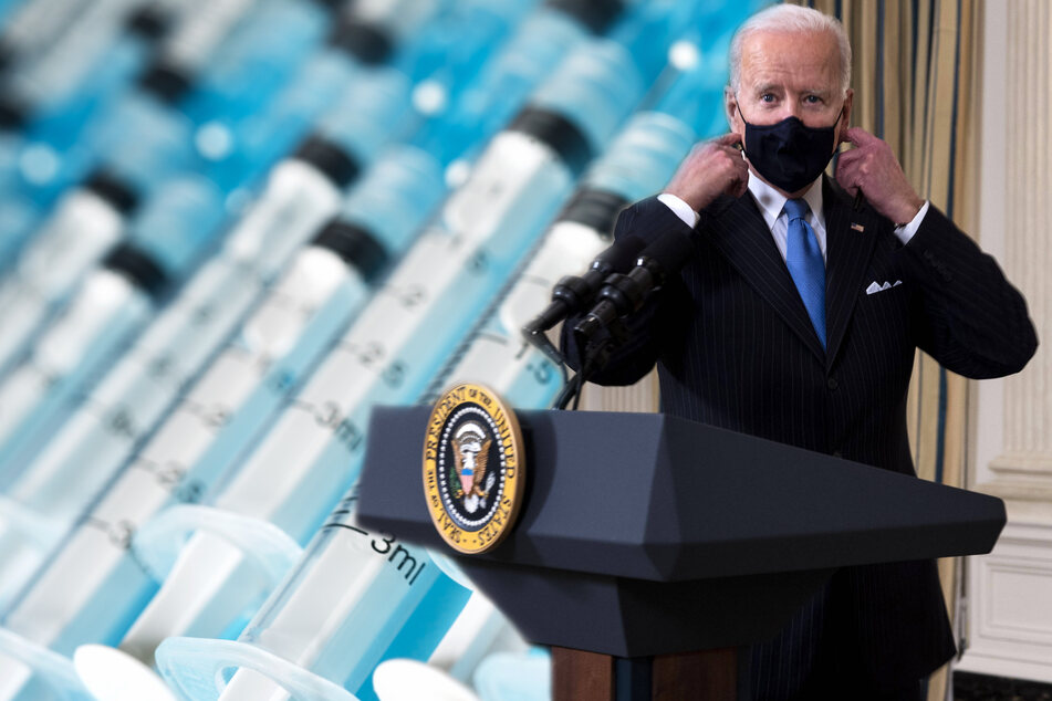 Joe Biden says all teachers and educators should receive their first vaccine dose by the end of March (collage, stock image).
