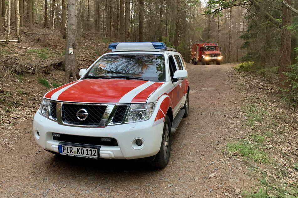 Einsatzkräfte im Nationalpark Sächsische Schweiz.