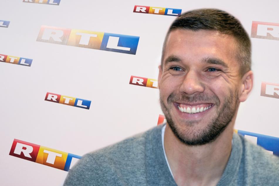 Lukas Podolski (35) wird an der Seite von Moderator Florian König das Testspiel der deutschen Nationalmannschaft gegen die Türkei bei RTL analysieren. (Fotomontage)