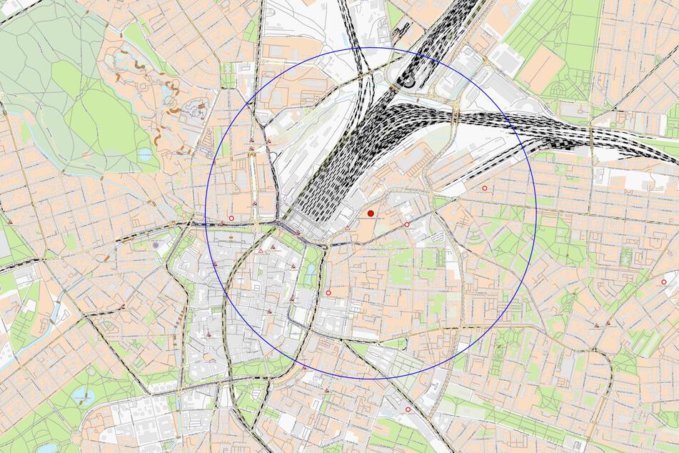Diese Karte der Stadt Leipzig zeigt einen möglichen und vorläufigen 1000-Meter Sperrkreis um den Fundort.