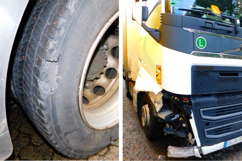 Laster nach Unfall total kaputt, Fahrer setzt Transport trotzdem fort