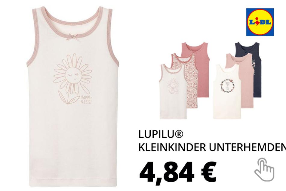 LUPILU® Kleinkinder Unterhemden Mädchen, 3 Stück, Feinrippqualität, aus reiner Baumwolle