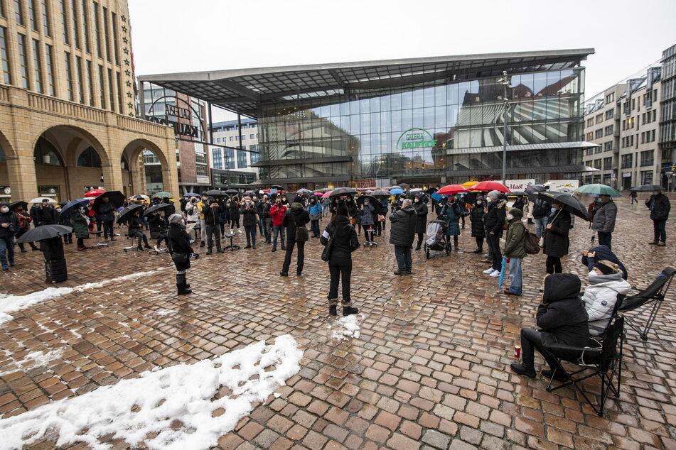 In der Innenstadt demonstrierten die Chemnitzer Friseure.