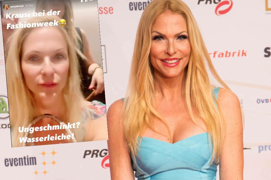 """""""Ungeschminkt? Wasserleiche!"""" lautete das vernichtende Selbsturteil von Sonya Kraus (48) kurz vor einem Auftritt bei der Frankfurt Fashion Week."""