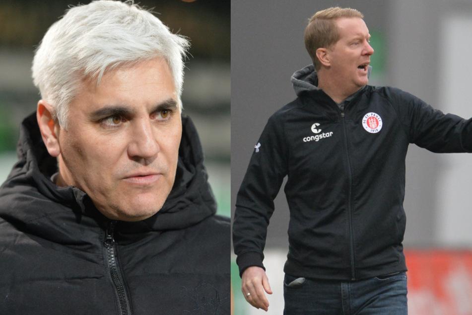 FCSP-Sportchef Andreas Bornemann (l.) und Trainer Timo Schultz stehen erneut im Zentrum der Fan-Kritik.