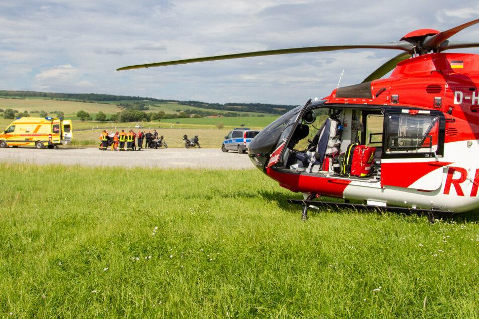 Rettungshubschrauber im Einsatz: Biker bei Sturz schwer verletzt