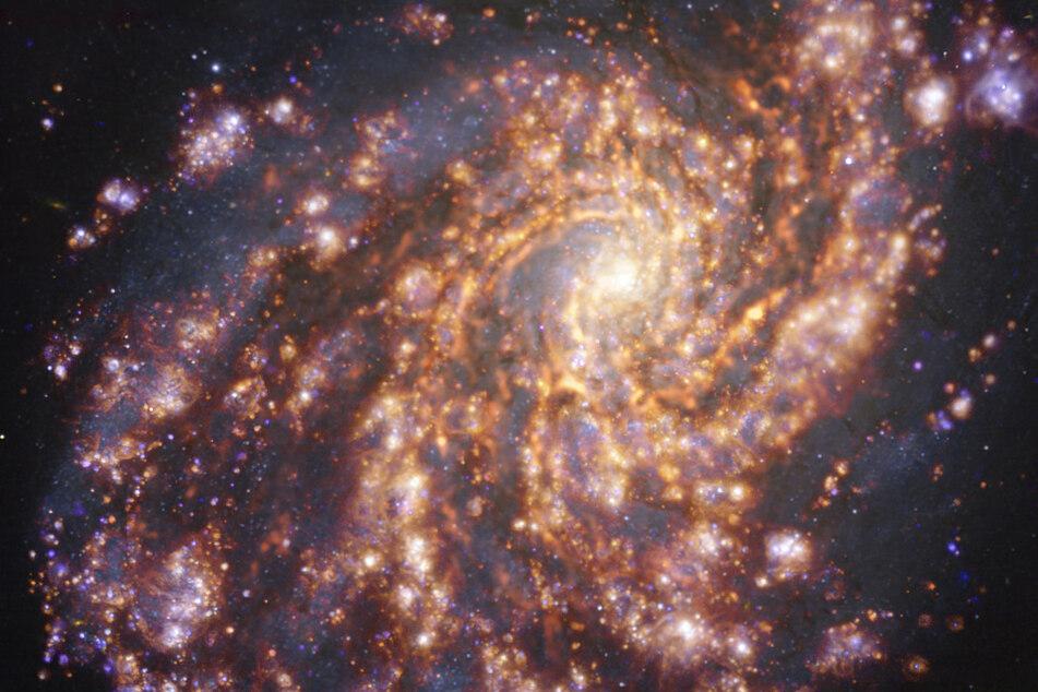 """Hallo Nachbar: Diese Aufnahme zeigt die nahegelegene Galaxie NGC 4254. Nahegelegen bedeutet hier """"nur"""" etwa 60 Millionen Lichtjahre von unserer Milchstraße entfernt."""