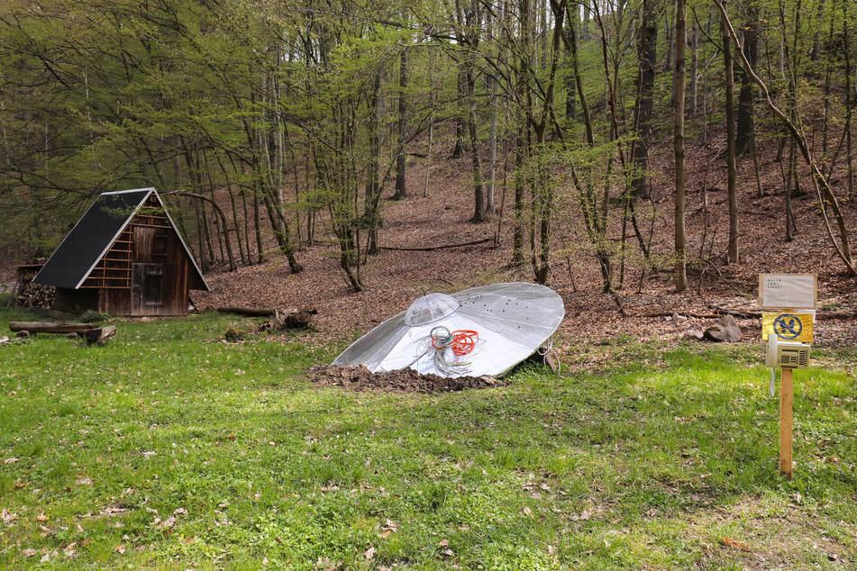 Auf einer kleinen Wiese am Lotzebach scheint das UFO abgestürzt zu sein.