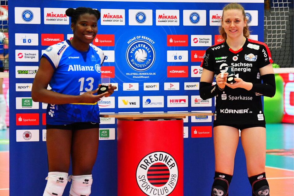 Die Stuttgarterin Krystal Rivers (26, l.) hatte am Sonnabend in Dresden das Nachsehen gegenüber Maja Storck (22). Das DSC-Ass holte sich den Preis der besten Spielerin ab.