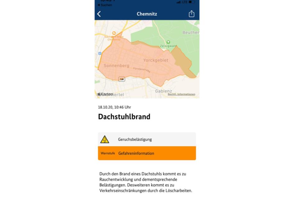 Die Warn-App Nina warnt vor Rauchentwicklung und Geruchsbelästigung im Bereich des Sonnenberg.