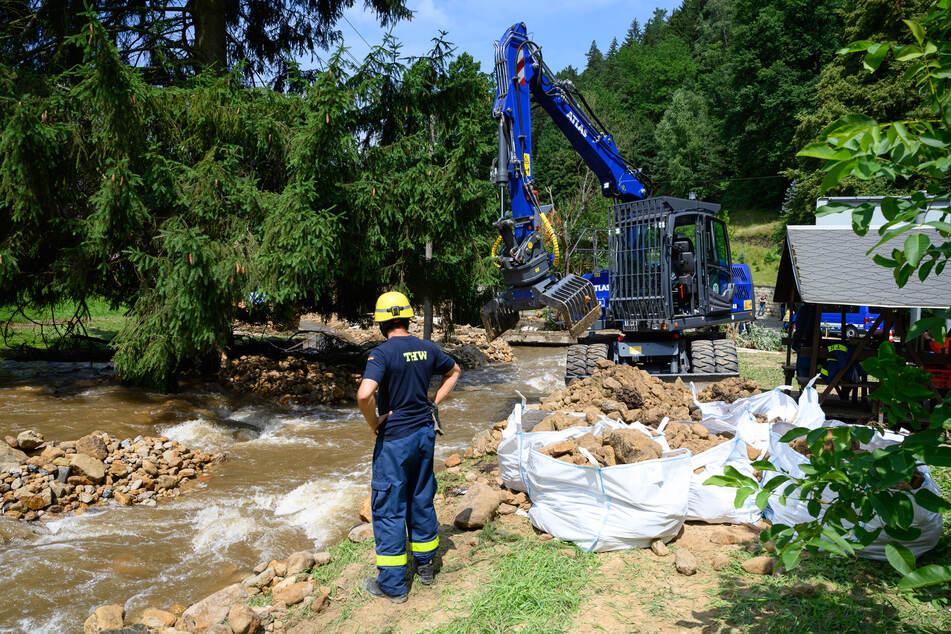 Auch in Sachsen (wie hier am Krippenbach in der Sächsischen Schweiz) gab es im Sommer Hochwasser. Genau für solche Notfälle werden die Sirenen getestet.