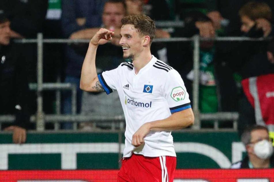 HSV-Allrounder Moritz Heyer (26) jubelt über seinen vierten Saisontreffer.