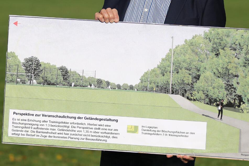 Blick auf die Pläne des 1. FC Köln zur Gestaltung der Sportplätze am Geißbockheim.