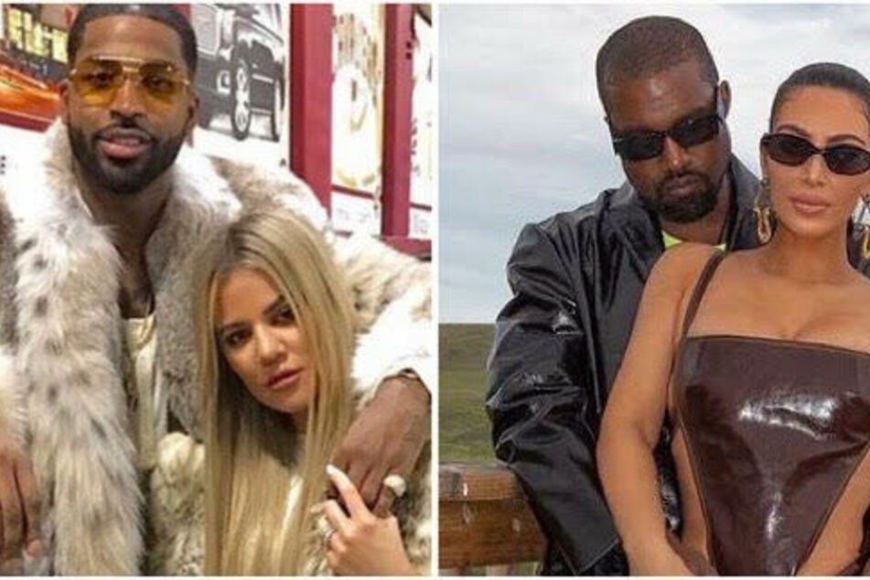 Kim Kardashian (r) is currently divorcing Kanye West after six years of marriage while Khloe (l) reunited with Tristan Thompson after their split.