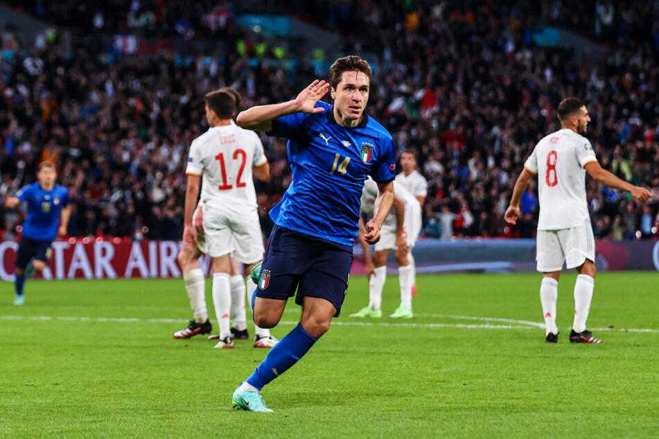Federico Chiesa (v.) schoss Italien gegen Spanien mit 1:0 in Führung.