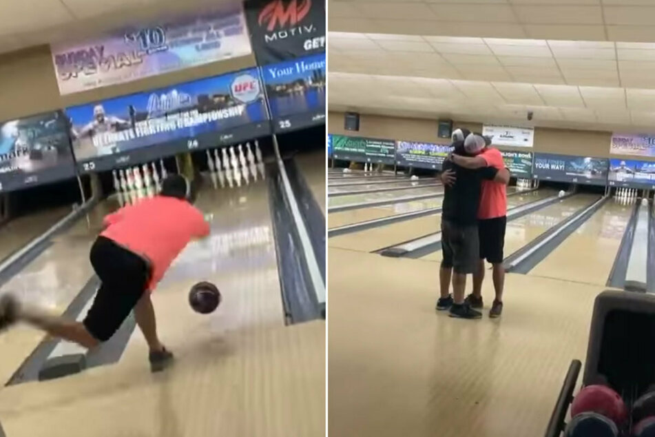 Man bowls a perfect game using a ball filled with his dad's ashes!