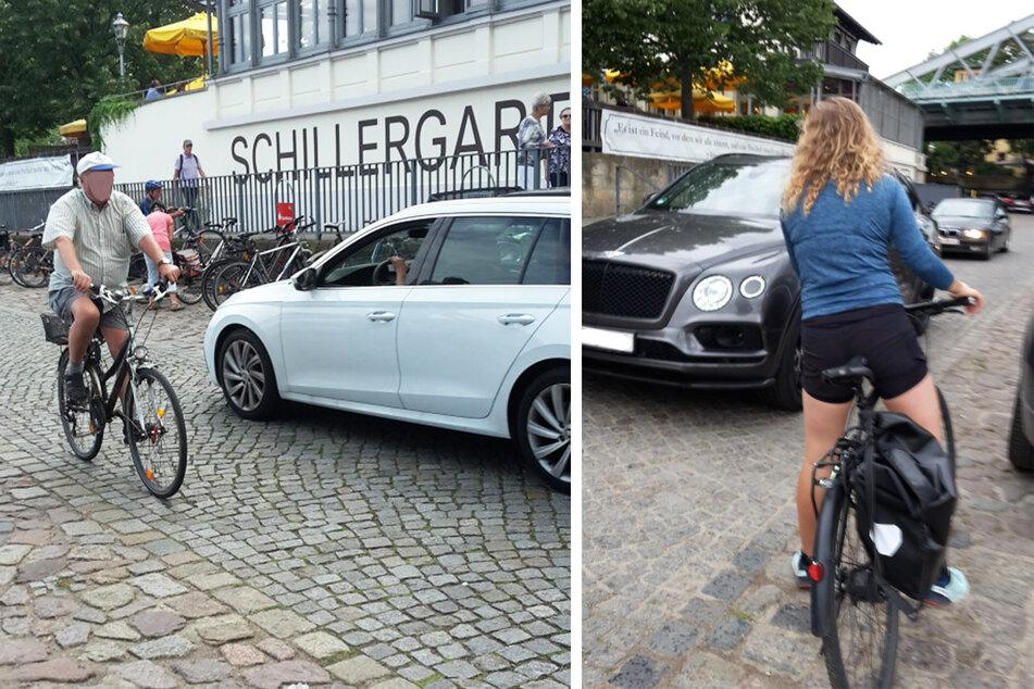 Die Radfahrer müssen sich auf dem Elberadweg häufig zwischen Autos hindurchschlängeln