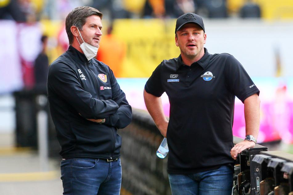 Ralf Becker (50) mit Paderborns Trainer Lukas Kwasniok (40, r.). Dessen Jungs zeigten sich eiskalt in Dresden.