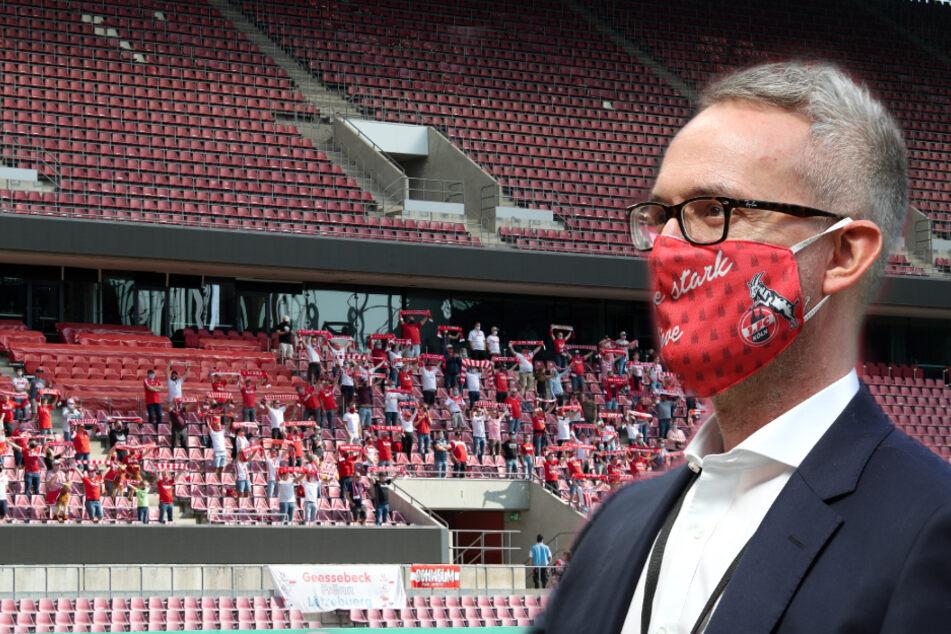 Der Geschäftsführer des 1. FC Köln Alexander Wehrle (45) rechnet mit 15 bis 20 Millionen Euro Umsatzverlust durch die Corona-Krise. (Fotomontage)