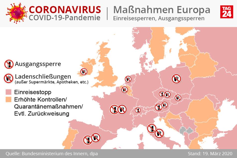 In weiten Teilen Europas gibt es einen Einreisestopp.