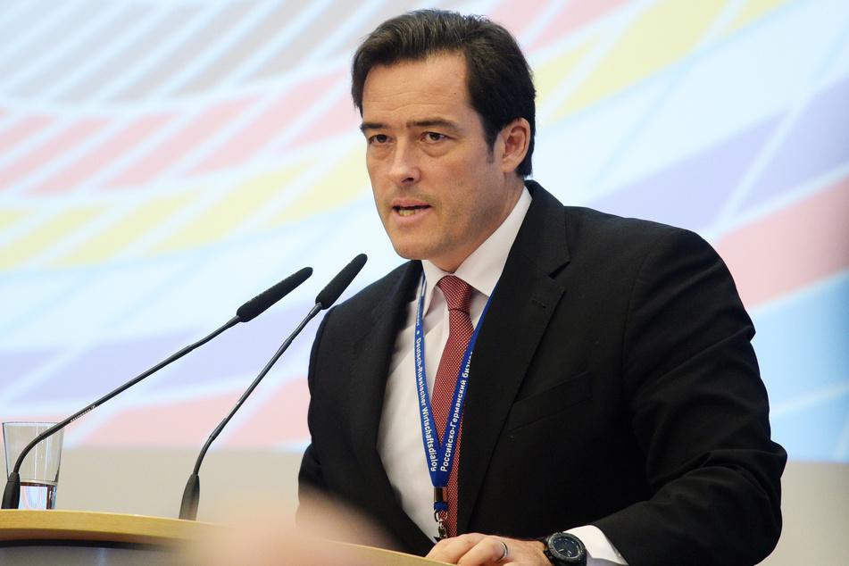 Der Außenwirtschaftschef des DIHK, Volker Treier, spricht im Rahmen des Deutsch-Russischen Wirtschaftsdialogs.