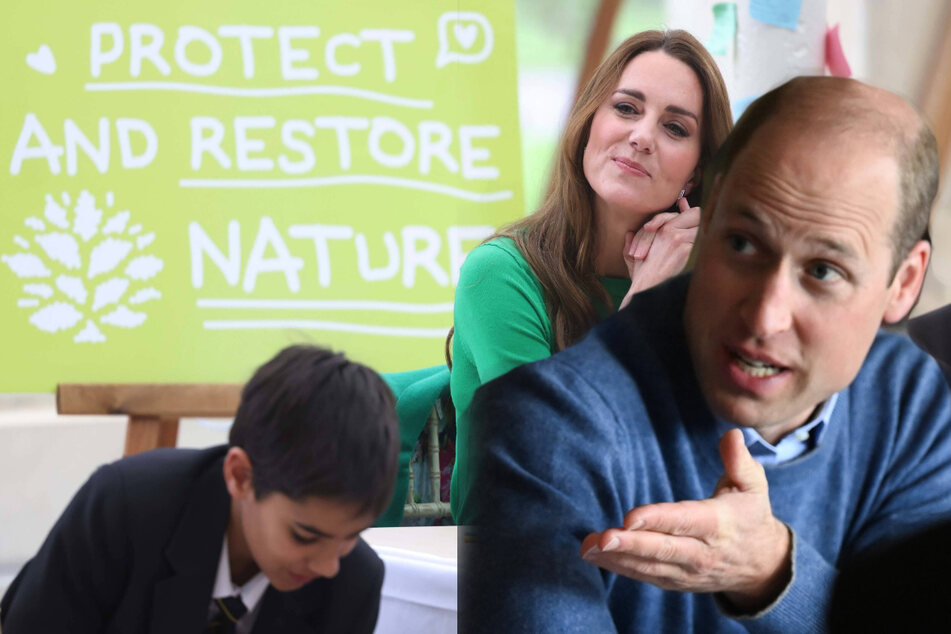 Prince William (r.) and his wife Kate Middleton (c.) recently visited with school students in support of Generation Earthshot, an educational initiative to inspire future generations to protect and repair the planet.