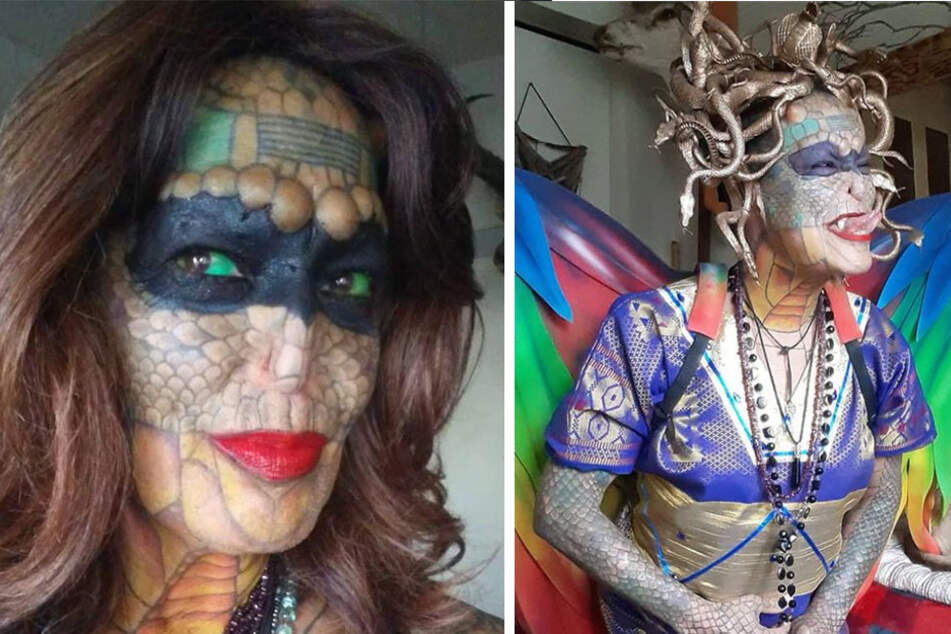 Dragon lady spreads her wings after shocking diagnosis and becomes a real-life Medusa!