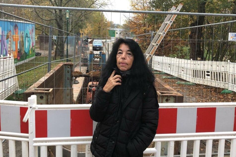 Martina Kisspal am Fundort der Bombe.