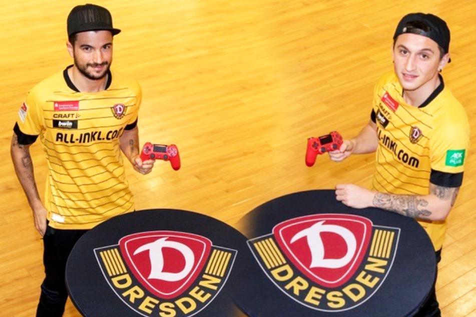 """Marco Terrazzino (l.) und Baris Atik gingen bei der """"Bundesliga-Home-Challenge"""" für Dynamo an den Start."""