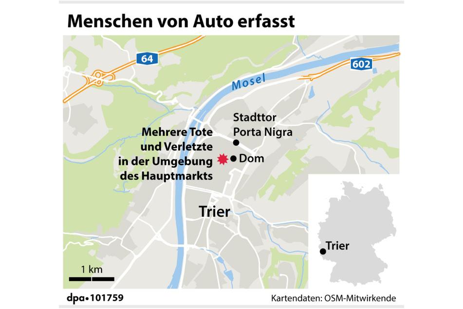 Der Tatort befindet sich mitten in der Innenstadt von Trier.