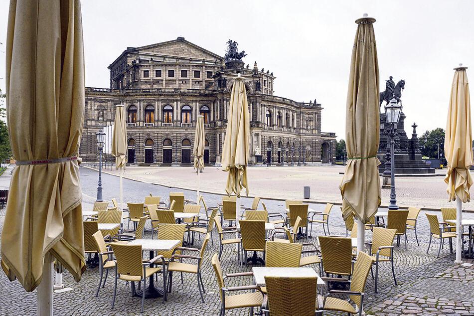 Der Sommer war in Dresden sehr verregnet. Die Außengastronomie litt darunter.