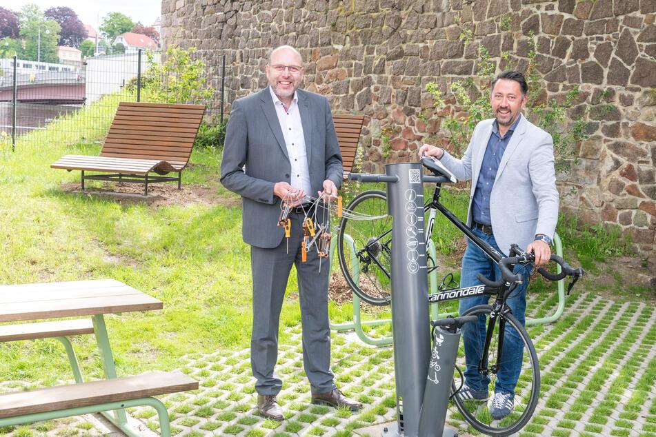 E-Ladestelle, Servicestation, Picknicktisch: Meißen eröffnet ersten Fahrrad-Rastplatz