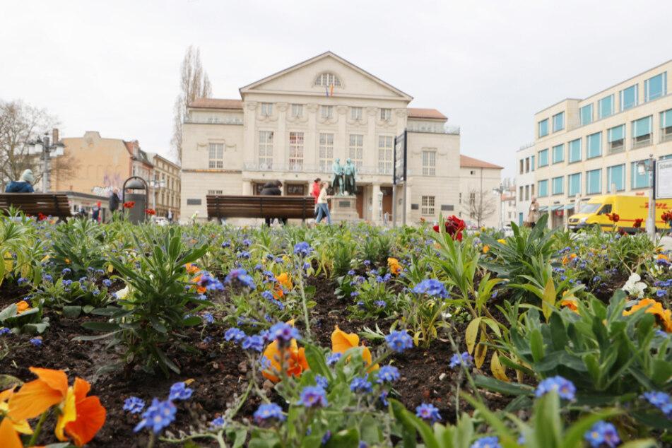 Blumen blühen vor dem Theaterplatz mit dem Goethe-Schiller-Denkmal und dem Theaterhaus in Weimar. Die Stadt ist als erste Region wieder unter einer Inzidenz von 100.