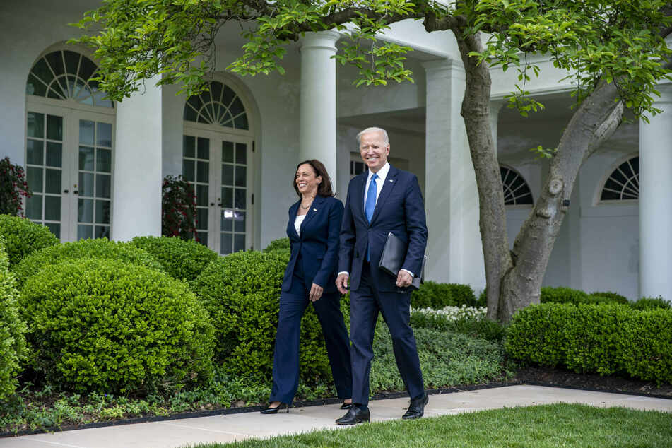 Vice-president Kamala Harris and President Joe Biden both smiled broadly as they appeared at the press conference without masks.