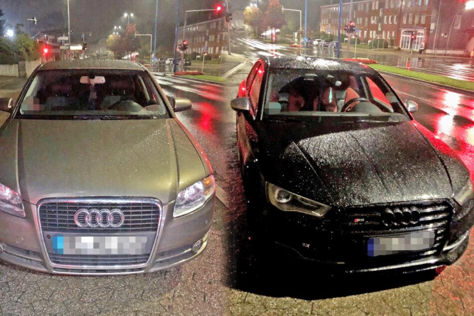 Audi-Fahrer geben Vollgas und lassen Räder durchdrehen, Polizei greift ein