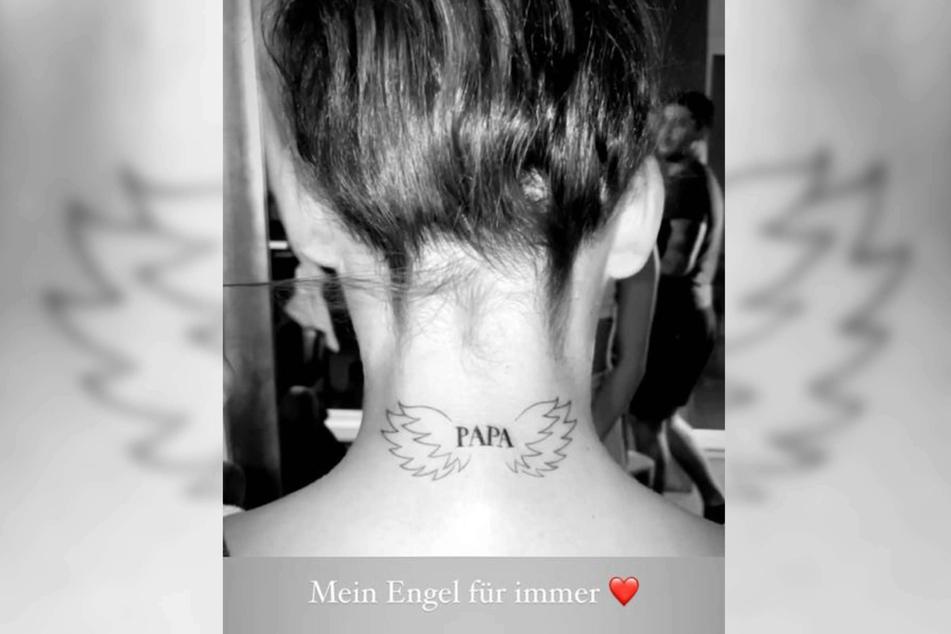 Alessia Herren (19) hat sich zum Andenken an ihren verstorbenen Vater Willi Herren (†45) ein Tattoo stechen lassen. Bei Instagram zeigte sie das Motiv.