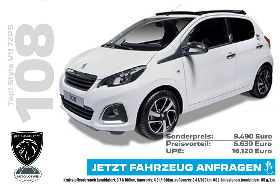 PEUGEOT 108 Top! Style Vti 72PS für 9.490 Euro