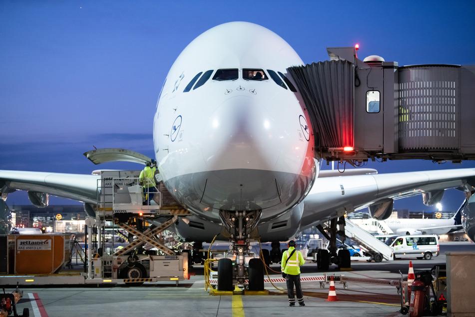 Ein Airbus A380 der Lufthansa steht am Flughafen Frankfurt in seiner Parkposition.