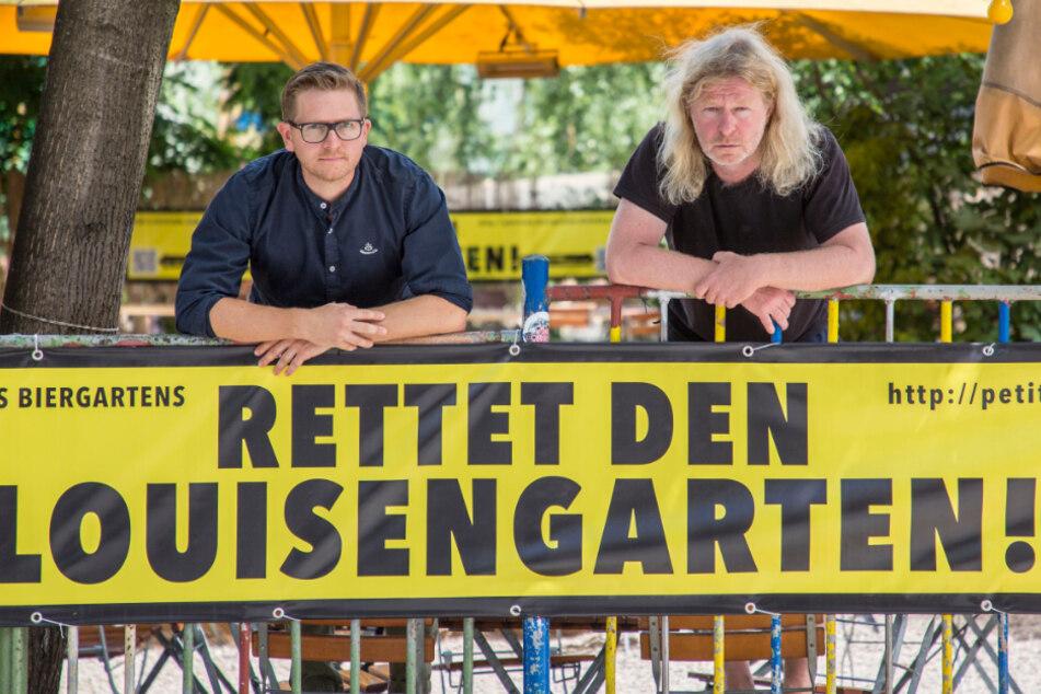 Winterhütt'n-Chef Josef Dölle (37, li.) und Wirt Tom Knappe (52): Beide bangen um den Louisengarten. Bleibt's bei den neu verordneten Öffnungszeiten, muss der beliebte Biergarten schließen.