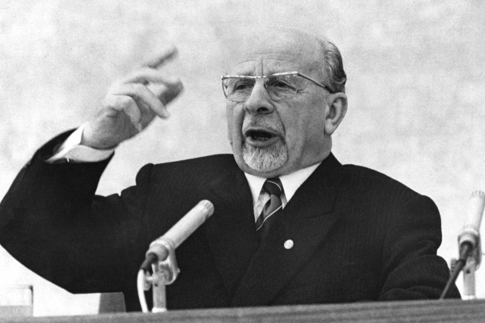 Der 1. Sekretär der SED und Vorsitzende des Staatsrates der DDR, Walter Ulbricht, aufgenommen in Ostberlin (DDR) während einer Rede.