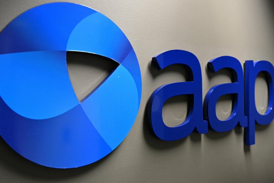 An AAP logo in the Australian Assoiciated Press's Sydney office.