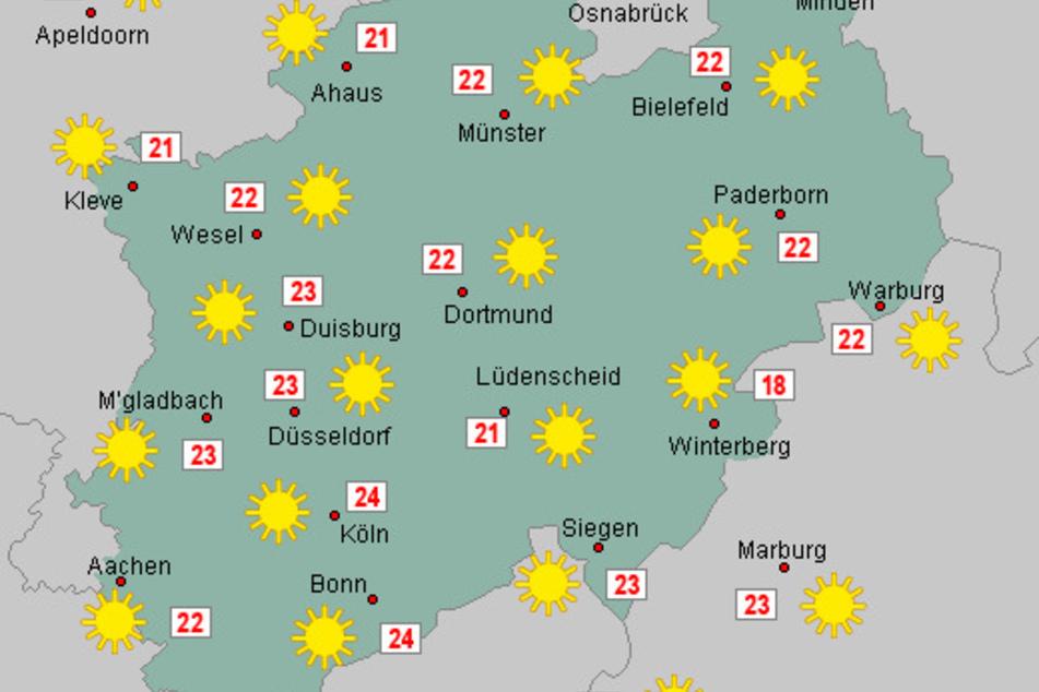 Ab Freitag kehrt der Sommer kurzzeitig nach Nordrhein-Westfalen zurück. Es wird durchgehend sonnig.