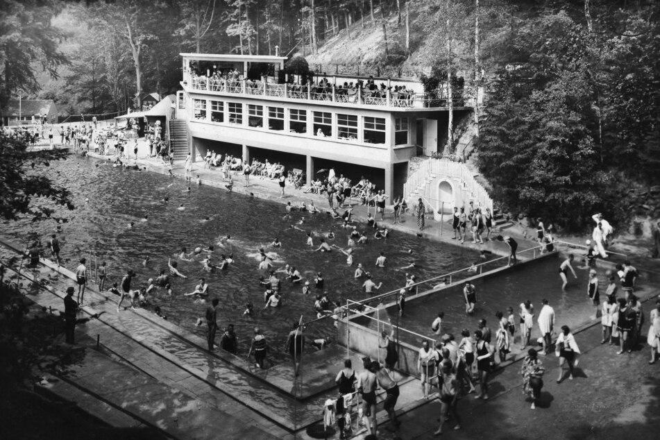 Das Freibad Bühlau auf einer historischen Aufnahme aus dem Jahr 1934.