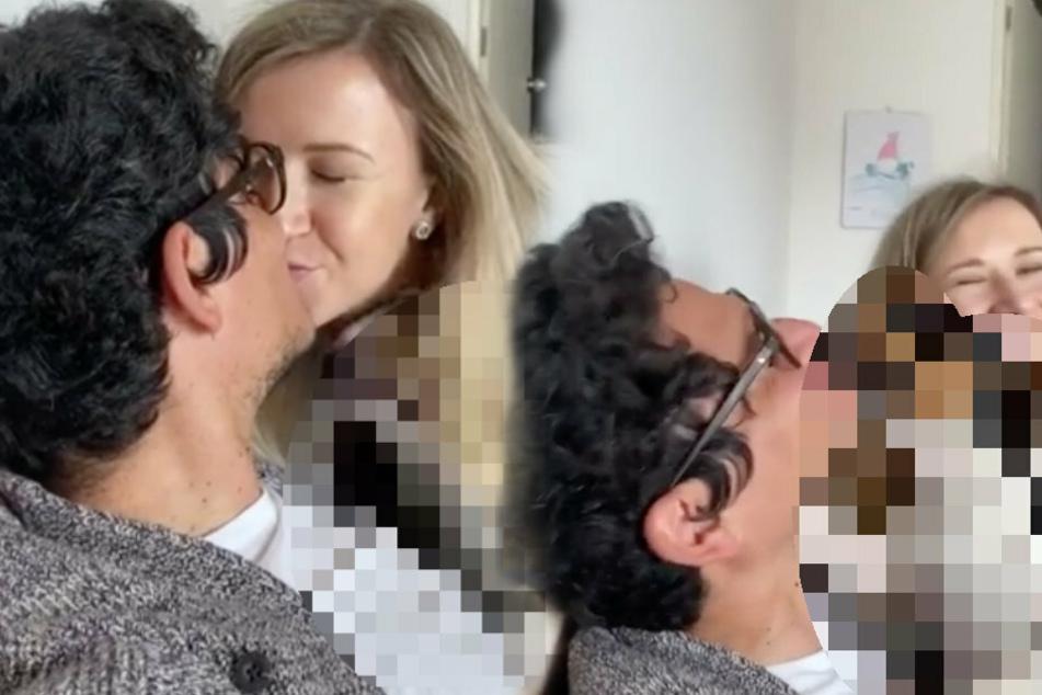 Blondine möchte ihren Freund küssen, doch ein Tier stört sie dabei