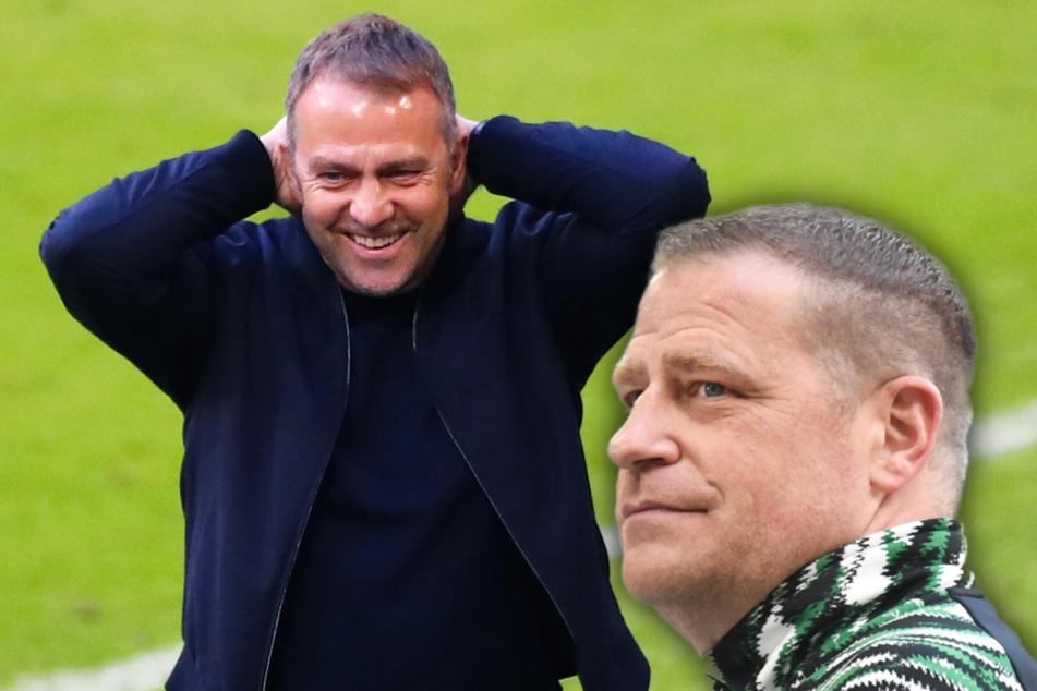 Mönchengladbachs Sportdirektor Max Eberl (47, r.) und Bayer-Trainer Hansi Flick (56) sind am Spielfeldrand aneinander geraten.