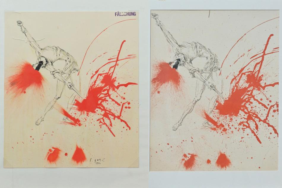 """Rechts das originale Motiv """"Don Quichotte"""" von 1957, links der falsche """"Don Quichotte"""", der von Kunstsammler Rebmann irrtümlich gekauft wurde."""