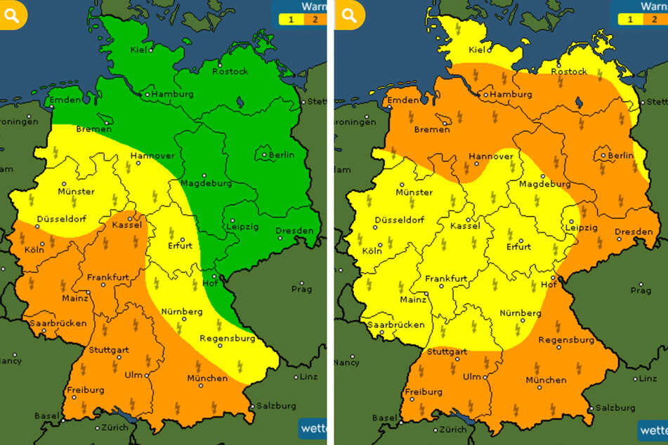 Die Gewitterwarnstufen (1 = gelb, 2 = orange, keine Gefahr = grün) am heutigen Samstag (l.) und morgigen Sonntag.