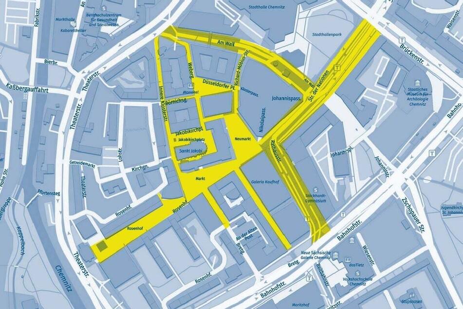 Diese Karte veröffentlichte die Stadt Chemnitz am Dienstag. In der gesamten Innenstadt muss ab sofort ein Mundschutz getragen werden.