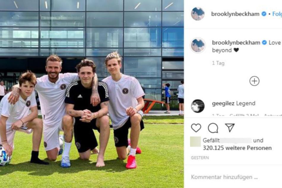 Die vier Männer der Beckhams präsentieren sich sportlich.