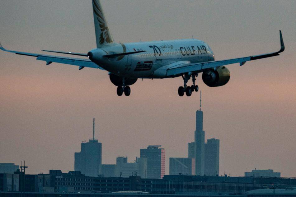 Ein Flugzeug setzt am Morgen auf dem Flughafen Frankfurt zur Landung an. Infolge der Corona-Pandemie ist das Flugaufkommen auch an Deutschlands größtem Airport drastisch gesunken.